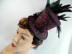 Tophat dark red stars veil Minihat Fascinator Gothic Hat Funeral Burlesque morbid Bibi Chapeau black Victorian Steampunk Drag Queen by Nashimiron on Etsy