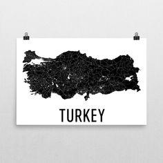 Turkey Wall Map Print - Modern Map Art