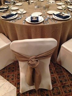 Rosette Tie with Burlap Sash-Key to my Heart Wedding by Designed Sealed and Delivered Linens by Special Occasions, Flint MI