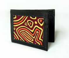Geldbörsen - Ledergeldbeutel für Männer mit Textil Mola-Dekor - ein Designerstück von MolaBags bei DaWanda