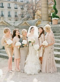 Sparkly bridesmaids' dresses in Paris! Click here to see more! http://www.stylemepretty.com/2014/01/16/paris-destination-wedding-at-hotel-crillon-part-i/  | Photography: KT Merry - ktmerry.com Floral Design: Sol Flor - solyflor.fr/ Wedding Dress: Vera Wang Via Vera Wang On Madison Ave., NYC - www.verawang.com   Read More on SMP: http://www.stylemepretty.com/2015/11/16/an-homage-to-paris-the-city-of-lights/