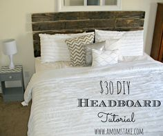 DIY Rustic Headboard tutorial for under $30! #amomstake