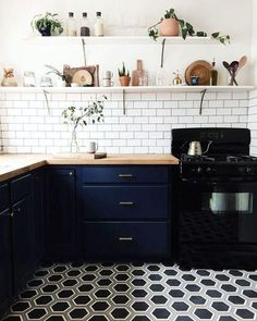 Compact Kitchen Renovation With Brass Drawer Pulls White Subway Tile Backsplash Geometric Patterned Black And Honeycomb Hexagon Tiles DIY Open