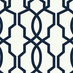 York- Ashford Geometrics- Hourglass Trellis Navy on White shop.wallpaperconnection.com