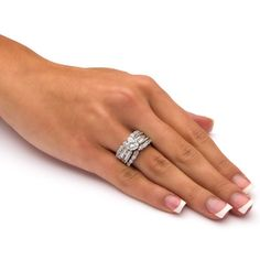 Shop for Platinum over Sterling Silver Cubic Zirconia Bridal Ring Set - White. Get free delivery On EVERYTHING* Overstock - Your Online Jewelry Shop! Platinum Wedding Rings, Gold Wedding Rings, Bridal Rings, Wedding Band, Engagement Ring Shapes, Vintage Engagement Rings, Engagement Jewelry, Cubic Zirconia Wedding Rings, Zirconia Rings