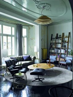 lacquered pastel ceiling with an ornate medallion and abstract pendant, contemporary decor, contemporary furniture, Exclusive Design, Designer Furniture, Interior Design, Best decor, Decorating secrets, entrance hall,living area. get inspired on: http://www.bocadolobo.com/en/inspiration-and-ideas/