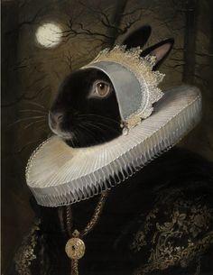 Illustration et peinture à la gouache d'une dame lapin de la haute société peinte par le peintre américain Bill Mayer