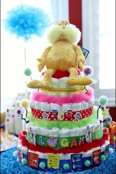 Dr. Seuss lorax Diaper cake I made for my cousins Lorax themed baby shower