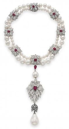 The Peregrina pearl on the bottom- started out in royal jewelry in the 1600s, worn in the modern day by Elizabeth Taylor