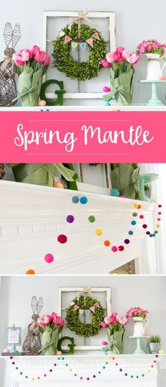 I love this Spring Mantle – bright colors, a re-purposed old window frame, a beautiful wreath, and basic pitcher. More Spring & Easter Home Decor Ideas on Frugal Coupon Living.