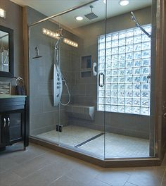 Glass block window in shower