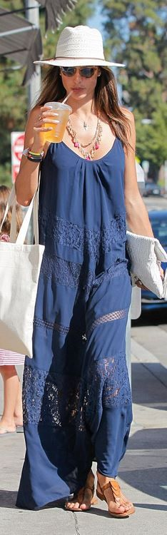 Who made  Alessandra Ambrosio's blue lace maxi dress and brown flat sandals?