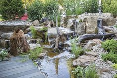 Are you thinking to add a water feature to your backyard? I've got some really nice backyard waterfall ideas here that will inspire you. Landscape Architecture, Landscape Design, Feng Shui Garden Design, Outdoor Waterfalls, Rock Waterfall, Les Cascades, Ponds Backyard, Back Patio, Water Features