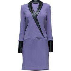 LATTORI Purple Power Surplice Collar, Jacket Dress (3,485 PHP) ❤ liked on Polyvore featuring dresses, textured dress, collared dresses, sheer cocktail dress, purple cocktail dresses and cross over dress