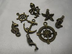 Nautical Charm Mix Bronze 8 Piece by AGothShop on Etsy, $2.50