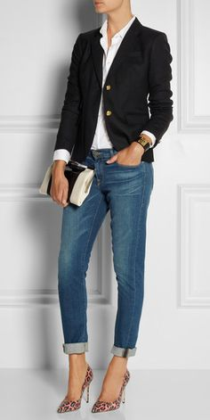 Office outfit Boyfriend jeans, animal prints heels and blazer Latest fashion trends Mode Outfits, Jean Outfits, Fall Outfits, Casual Outfits, Summer Outfits, Fashion Outfits, Womens Fashion, Navy Blazer Outfits, J Crew Outfits