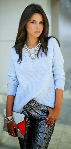 Lovely sequin pant and comfy mint sweater combo