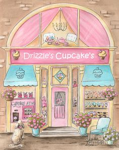 Drizzle's Cupcake Shop Painting by Debbie Cerone