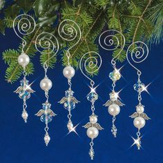 "Nostalgic Christmas Beaded Crystal Ornament Kit ""Dangling Angels"" Set of Wire Ornaments, Ornament Crafts, Christmas Crafts, Homemade Christmas, Felt Christmas, Merry Christmas, Christmas Quotes, Christmas Music, Christmas Trees"