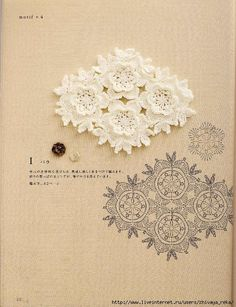 Many motifs, charts & projects in this Japanese #crochet book. Click on picture for all pages & charts at this Russian website.