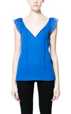 Image 1 of TOP WITH FRILL SLEEVE from Zara
