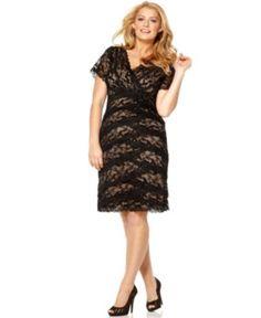 Marina Plus Size Dress, Cap Sleeve Lace Cocktail Dress - Plus Size Dresses - Plus Sizes - Macy's