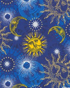 Celestial - Astrological Motifs - Marine Blue/Gold