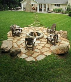 decorative pavers with firepit - idea for cement slab area...
