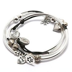Best Bracelets For Women | Mini Lucky Petite Bracelet With Natural Black Leather by Lizzy James *** Want additional info? Click on the image. Note:It is Affiliate Link to Amazon.