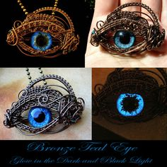 Teal Glow In The Dark Dragon Eye Pendant - Wire by ~LadyPirotessa on deviantART
