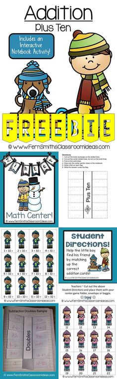 FREE - Fern Smith's Classroom Ideas Quick and Easy to Prep Addition Plus Ten Center with a Cute Winter Kids Theme at TeachersPayTeachers. #FREE #TPT #Freebie #FernsFreebie