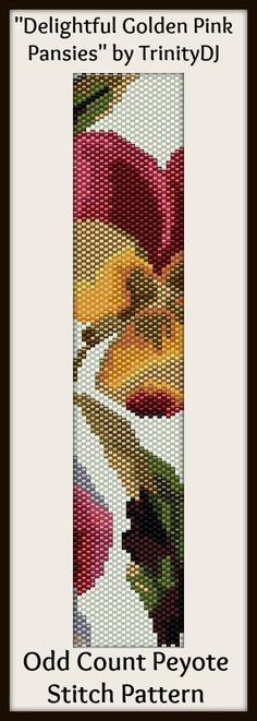 """Delightful Golden Pink Pansies"" - New pattern now available as direct download and/or kit. Please follow this link for more info - cart.javallebeads... Peyote Stitch Patterns, Seed Bead Patterns, Beaded Jewelry Patterns, Bracelet Patterns, Beading Patterns, Bead Loom Bracelets, Peyote Beading, Beaded Bracelets, Seed Beads"