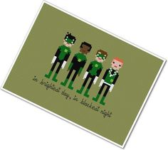 Pixel People - Green Lanterns of Sector 2814 - PDF Cross Stitch Pattern - INSTANT DOWNLOAD