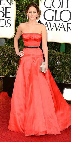 Golden Globes Jennifer Lawrence in Dior; Best Actress – Comedy/Musical winner for Silver Linings Playbook, Jennifer Lawrence led the red trend in strapless Dior Christian Dior Couture, Dior Haute Couture, Jennifer Lawrence Golden Globes, Jenifer Lawrence, Dresses 2013, Nice Dresses, Fishtail Dress, Anne Hathaway, Bradley Cooper