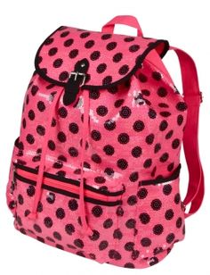 Large Pink and black polka dot ruck sack