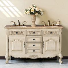 Virtu USA Brussels 58-in. Double Bathroom Vanity - The Brussels Double Bathroom Vanity features decorative resin appliques on the three upper drawer fronts, lower scalloped apron, and tops of the corne...