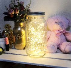 So pretty! I would LOVE this!! Perfect gift and under $20 :) Mason jar lights, bedroom fairy lights, mason jar lighting, nursery lights, bedroom lamp, nursery decor, battery fairy lights, rustic decor | #affiliate