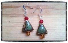Ceramic Christmas Tree Earrings by JuneMoonBeads on Etsy, $11.99
