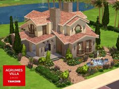 A mediterranean villa with modern lines and warm theme. Found in TSR Category 'Sims 4 Residential Lots' Sims 4 House Plans, Sims 4 House Building, Lotes The Sims 4, Sims Cc, Sims Freeplay Houses, Sims 4 House Design, Casas The Sims 4, Sims 4 Build, Spanish House