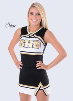 High School Cheerleading Uniform by Rebel Athletic. Gold lettering, metallic braid. Cheerleading Uniform by Rebel Athletic School Division.