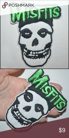  Misfits Skull Patch  BRAND NEW - iron on style // tags: goth gothic punk rock metal punky skulls skeleton fiend fiends alternative music culture patches diy customize custom wicked neat cool rad vintage nwot bnwot boo horror creep creeper creepy misfit dark black green white jean jeans jackets jacket bold statement fun fan fans badass logo band bands musician musicians rebel bones unisex unique Accessories