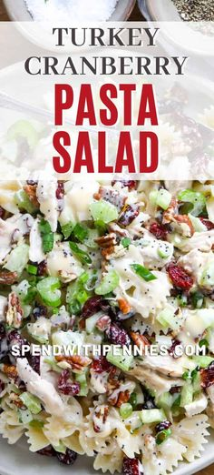 Turkey Cranberry Pasta Salad is perfect for holiday parties and potlucks. With festive mix-in's like leftover turkey, tart cranberries, toasted almonds and crisp celery your guests are sure to fall in love with this cold pasta salad. #spendwithpennies #coldpasta salad #servedcold #festivedish #leftoverturkey #withcranberries #withnuts #quickandeasy #turkeyandpasta #poppyseeddressing