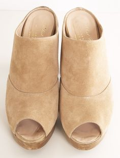 peep-toe suede clogs