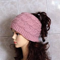 Knitted Messy Bun Hat  Messy Bun Beanie Winter Hat Girl