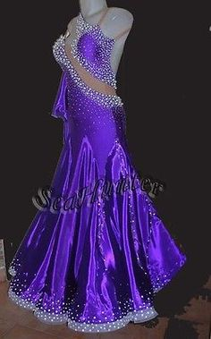 Ballroom Standard Watlz Tango Everday Dance Dress US 8 UK 10 Skin Purple Gown