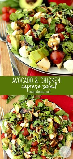 Avocado and Chicken Caprese Salad is a cool and filling, gluten-free and fabulously fresh! Ready in 20 minutes, too! #glutenfree | iowagirleats.com