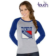 Touch by Alyssa Milano New York Rangers Womens Fan For Life Sweater - Gray/Royal Blue