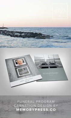 Carnation funeral program template, fishing theme, Customised by a professional Graphic Designer for only $99.90. Designed by Memory Press, available at memorypress.co