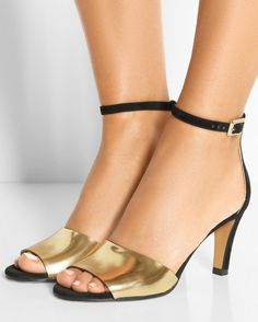 CHLOÉ Metallic Leather and Suede Sandals | Buy ➜ http://shoespost.com/chloe-metallic-leather-and-suede-sandals/