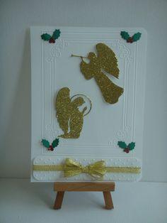 """Kit carte double blanc, """"Les anges"""" de Noël à réaliser vous même"""